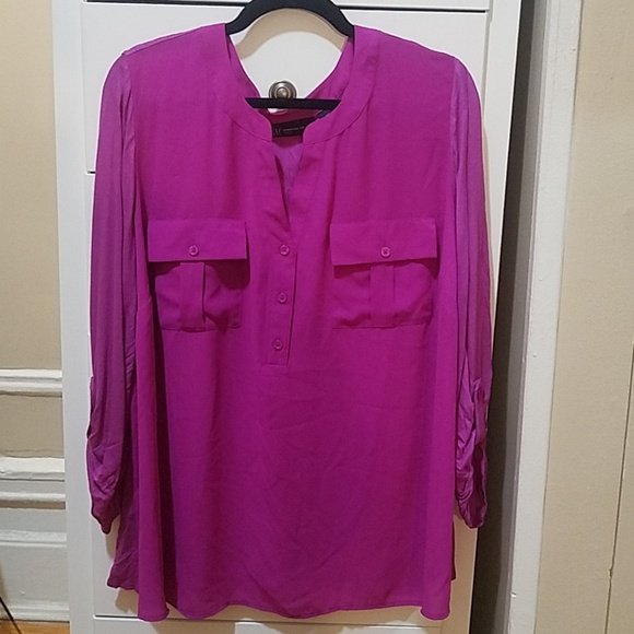 INC International Concepts Tops - INC Fuscia 3/4 Sleeve Pocket Blouse - 3X